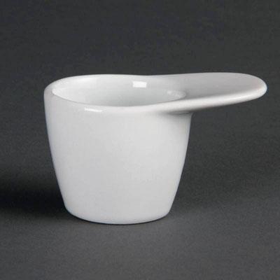 Saucenbecher mit Griff von Olympia aus weißem Porzellan CE543