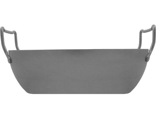 Seitenansicht Frittierpfanne mit hohem angerundeten Rand, ideal für große Mengen Frittierfett oder große Portionen an Speisen und Suppen.