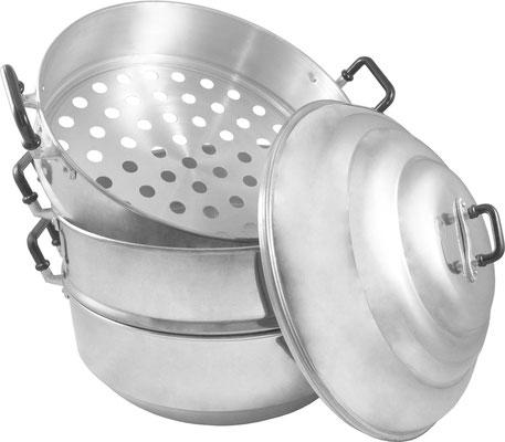Ein Set bestehend aus einem Dampftopf, zwei Dampfkörben und einem Deckel. Abwaschbar, wiederverwendbar und langlebig. Geeignet für Elektroherde und Gasherde.