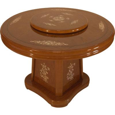Runder Chinatisch mit Drehplatte in Naturholzfarbe mit Muschel Verzierungen aus Perlmutt. Stabiler Sockel für sicheren Stand beim Essen. Für etwa 4-5 Personen geeignet.
