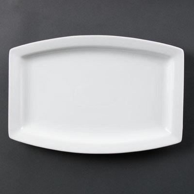 Rechteckige Platte Olympia aus weißem Porzellan C361.