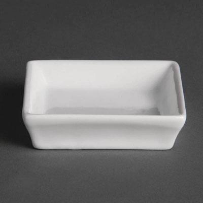 Viereckige Schale mit flachem Rand von Olympia aus weißem Porzellan U180
