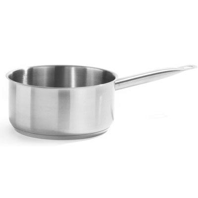 Stielkasserolle aus Edelstahl, geeignet fürs Kochen mit Induktion.