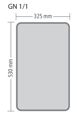 Genormte Abmessungen eines GN 1/1 Behälters aus Polypropylen