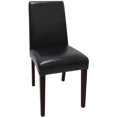 Stilvoller Holzstuhl mit schwarzem Kunstleder für den Innenbereich