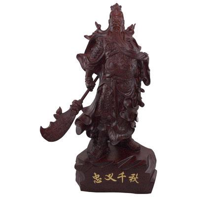 Guan Yu / Guan Gong / Kwang Kong Statue aus dunklem mahagonifarbenen Holz, aufrecht stehend mit Waffe