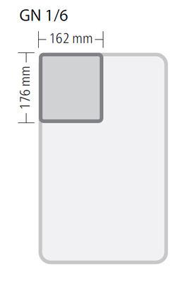 Genormte Abmessungen eines GN 1/6 Behälters aus Polypropylen