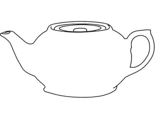 Darstellung Teekanne mit flachem Deckel