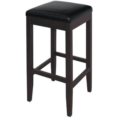 Luxuriöser Hocker mit Rückenlehne und schwarzem Kunstleder für den Innenbereich