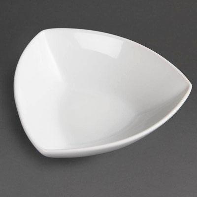 Dreieckige Schüssel Olympia aus weißem Porzellan CB678 / CB679 / CB 680
