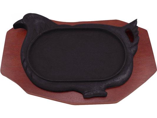 Heiße Platte aus Gusseisen mit Hühner-Motiv. Hält Ihre Speisen lange warm.