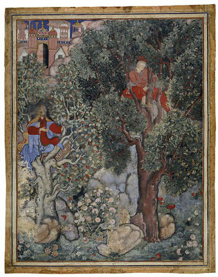 The Hamzanama chronicles the fantastic adventures of Hamza as he and his band of heroes fight against the enemies of Islam. This illustration shows the witch Anqarut in the guise of a beautiful young woman, who hopes to seduce the handsome king Malik Iraj