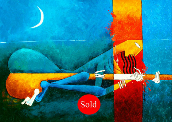 Title - The Sensation of Music. Medium - Acrylic on canvas. Size - H - 24 X W - 33 inch. Sold Out.
