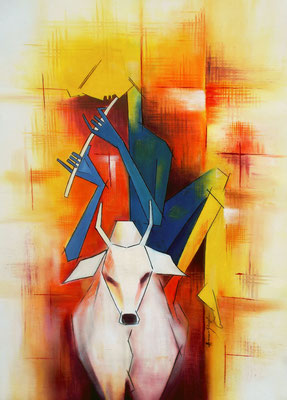 Title - Krishna the cowherd. Medium - Oil on canvas. Size- H - 34 x W - 22 inch. Price - Rs 56100/-