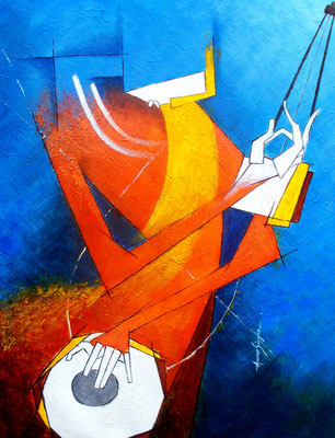 Title - A Breezy Life. Medium - Acrylic on canvas. Size - H - 26 x W - 20 inch. Price - Rs. 78000/- ($1050)