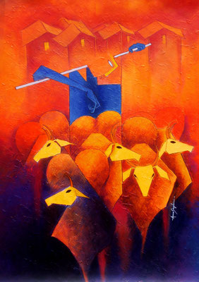 Title - Pastoral. Medium - Acrylic on canvas. Size - H - 34 X W - 25 inch. Price - Rs - 1,27000/- ($1743)