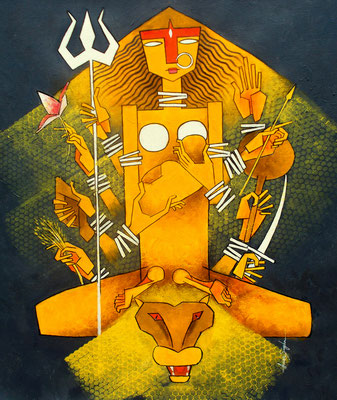 Title - Durga, the Holy Mother. Medium - Acrylic on canvas. Size - H - 30 x W - 24 inch. Price - 1,08000/- ($1463)