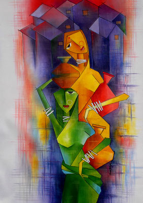 Title - Village Housewives. Medium - Oil on canvas. Size - H - 33 X W - 22 inch. Price - Rs. 54500/-