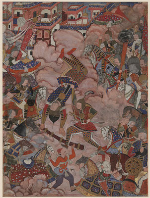Battle of Mazandaran, number 38 in the 7th volume of the Hamzanama, as inscribed between the legs of the man in the bottom center. The protagonists Khwajah 'Umar and Hamzah and their armies engage in fierce battle. Originally, the faces were depicted; the