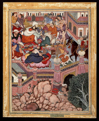 """This painting of the """"Qissa"""" (Accession no. 24.49) is identified as Book 11, 84 r. by Sheila Canby and is one of a series of three which depict the entry of Amr and his companions into the fort of Zumurud Shah and his sorcerers disguised as a physician an"""