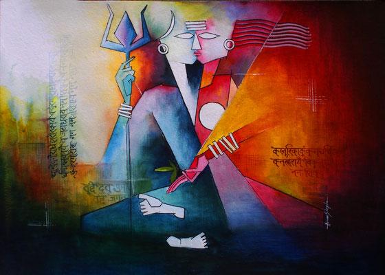 Title - Ardhanarishvara. Medium - Watercolor on Paper. Size - H - 22.5 X W - 30.5 inch. Price - Rs. 34400/-