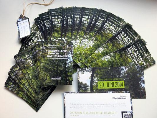 Werbematerielien für das Sommerfest der Stiftung WaldWelten