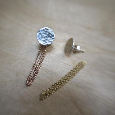 Boucles d'oreilles ADAPTABLES - combinaison Pastilles + Chaînes