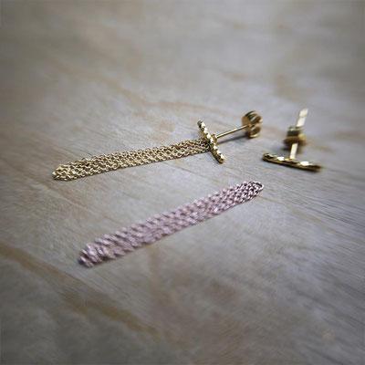 Boucles d'oreilles ADAPTABLES gaufrées + chaînes