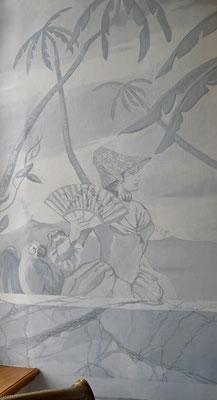 Château de Picomtal, Hautes Alpes, intérieur, peinture murale, décoration