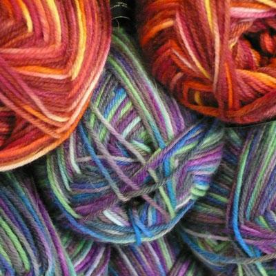 Les Pelotes, Gap, laine multicolore, détail