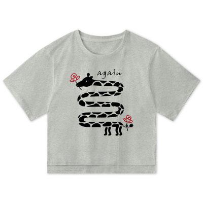 キリンと花デザインイラストかわいい女性用グレービッグTシャツのレディース向け