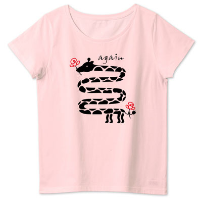 キリンと花デザインイラストTシャツかわいい女性用ピンク