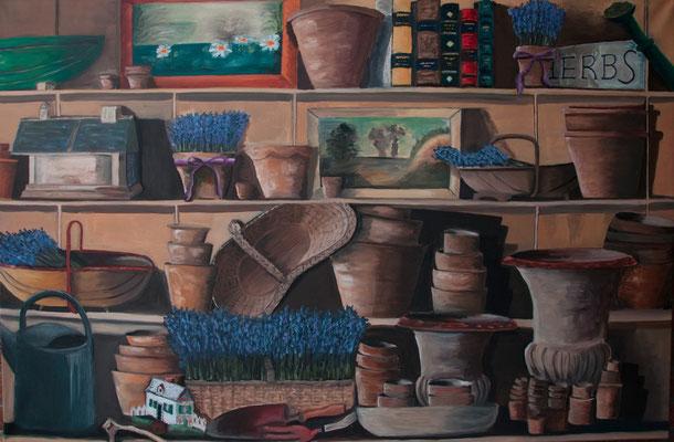 Regalwand in einem Gartenhäuschen, B 120 x H 80 cm, Öl auf Leinwand, 3.200,-- EUR