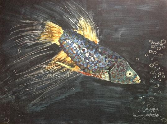 Fisch mit Luftblasen, B 32 x H 24 cm, Mischtechnik im Alu-Rahmen, 280,-- EUR