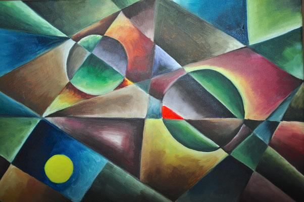 Geometrie, B30 x H 24 cm, Öl auf Leinwand, 180,-- EUR