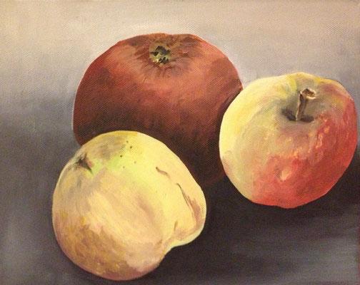 drei Äpfel, B 30 x H 24 cm, Öl auf Leinwand, 270,-- EUR