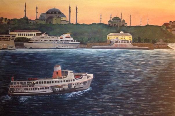 Istanbul vom Bosporus her, B 120 x H 80 cm, Öl auf Leinwand, 2.000,-- EUR VB