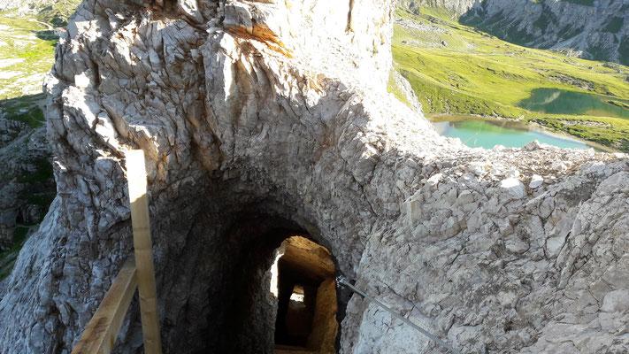Kriegsstollen am Klettersteig zum Paternkofel