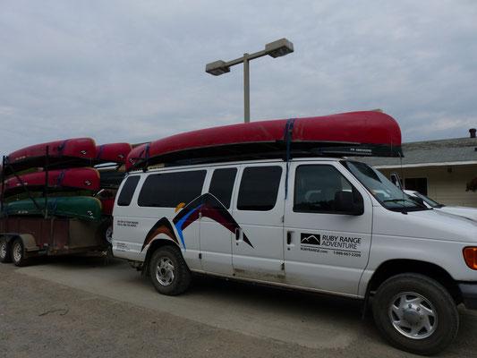 Start zur Kanutour auf dem Yukon