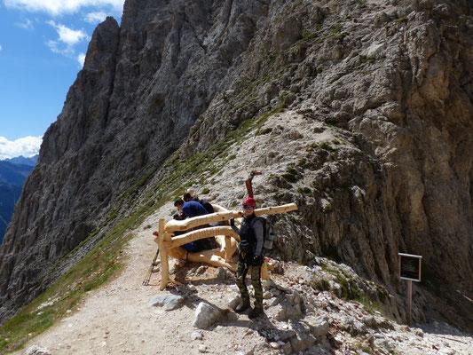 Beginn Klettersteig zur Rotwand im Rosengarten- Dolomiten