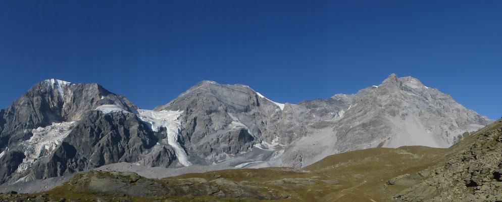 Königsspitze (3851 m), Monte Zebru (3735 m) und Ortler (3905 m)