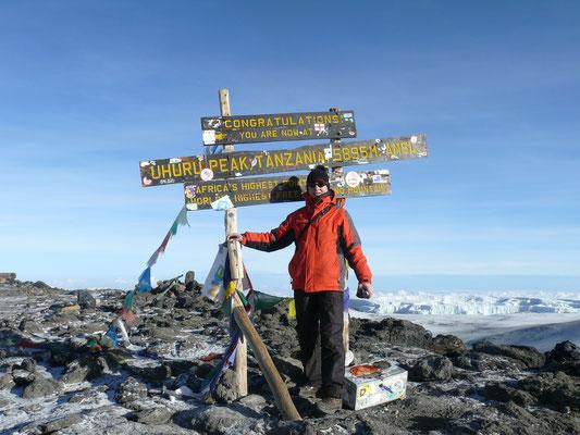 Kilimanscharo - Uhuru Peak auf 5895 m Höhe, dem Dach von Afrika