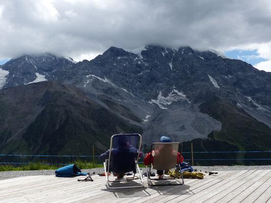 Blick zum Dreigestirn: Königsspitze, Monte Zebru und Ortler