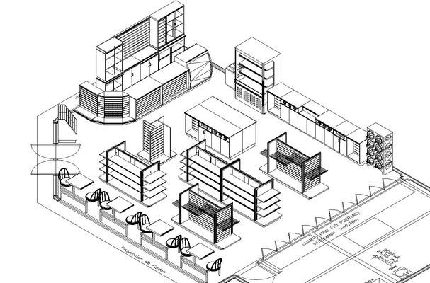 Diseño de tiendas, papelerías y farmacias lay out planos