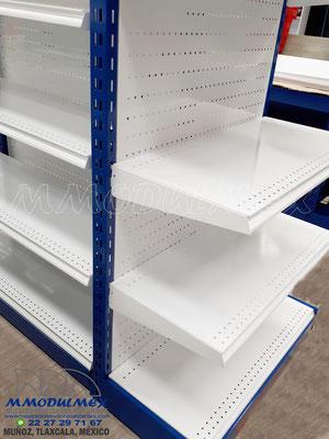Góndolas metálicas para supermercado para exhibición y almacenaje, Anaqueles para tiendas, muebles para tiendas, entrepaños metálicos, charolas metálicas