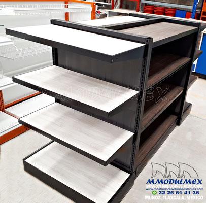Góndolas metálicas con entrepaños de madera o melamina, góndolas metálicas con madera.
