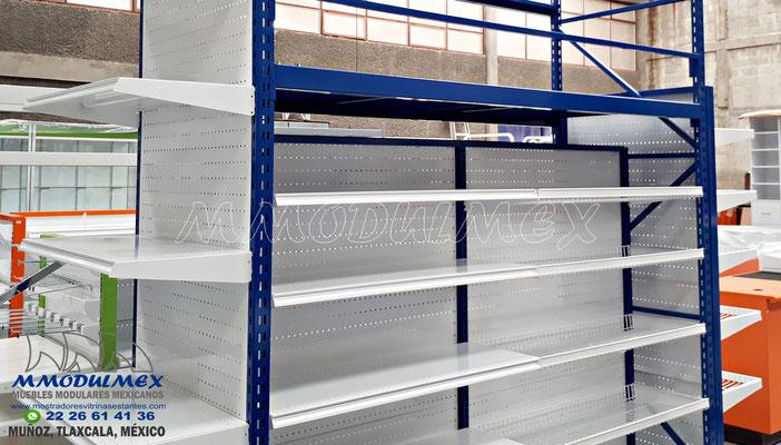 Góndolas metálicas para supermercado para exhibición y almacenaje, Anaqueles para tiendas, muebles para tiendas, muebles para minisuper