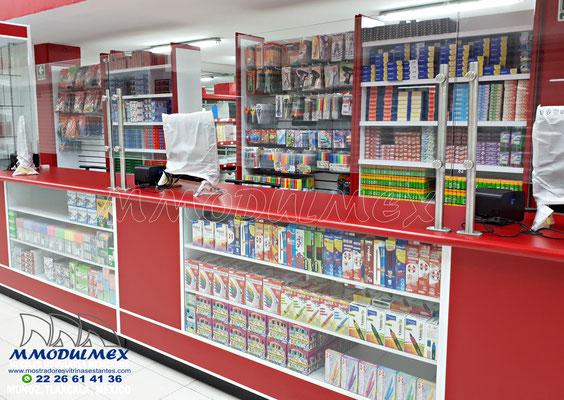 Muebles para papelería, mostradores para papelería, estantes y anaqueles para papelería, vitrinas para papelería