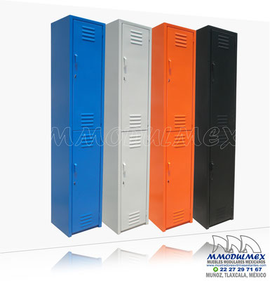 Locker metálico, locker con patas, lockers de colores, locker con chapa o cerradura, locker con copete inclinado, locker con puertas de malla