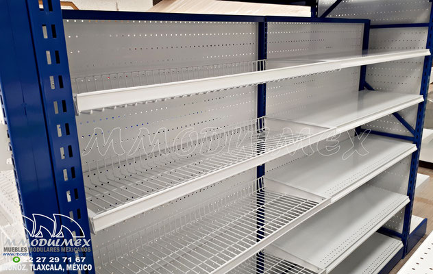Góndolas metálicas para supermercado para exhibición y almacenaje, Anaqueles para tiendas, muebles para tiendas, muebles para almacenaje